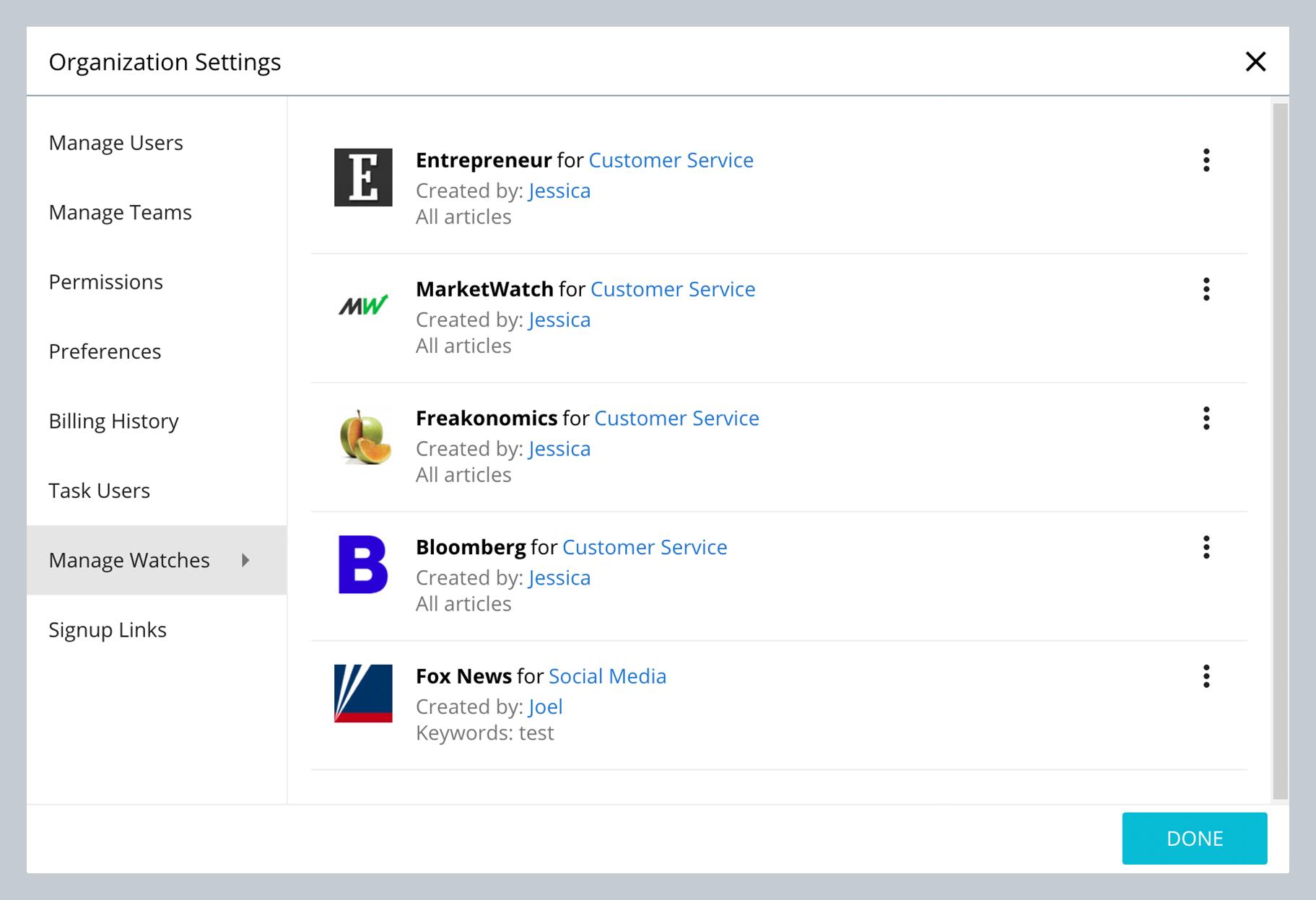 User Guide: Organization Settings